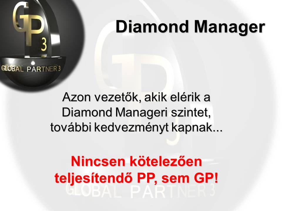 Diamond Manager Azon vezetők, akik elérik a Diamond Manageri szintet, további kedvezményt kapnak...