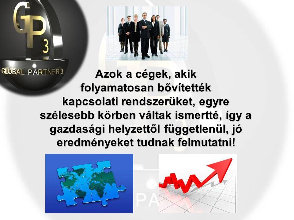 Azok a cégek, akik folyamatosan bővítették kapcsolati rendszerüket, egyre szélesebb körben váltak ismertté, így a gazdasági helyzettől függetlenül, jó eredményeket tudnak felmutatni!