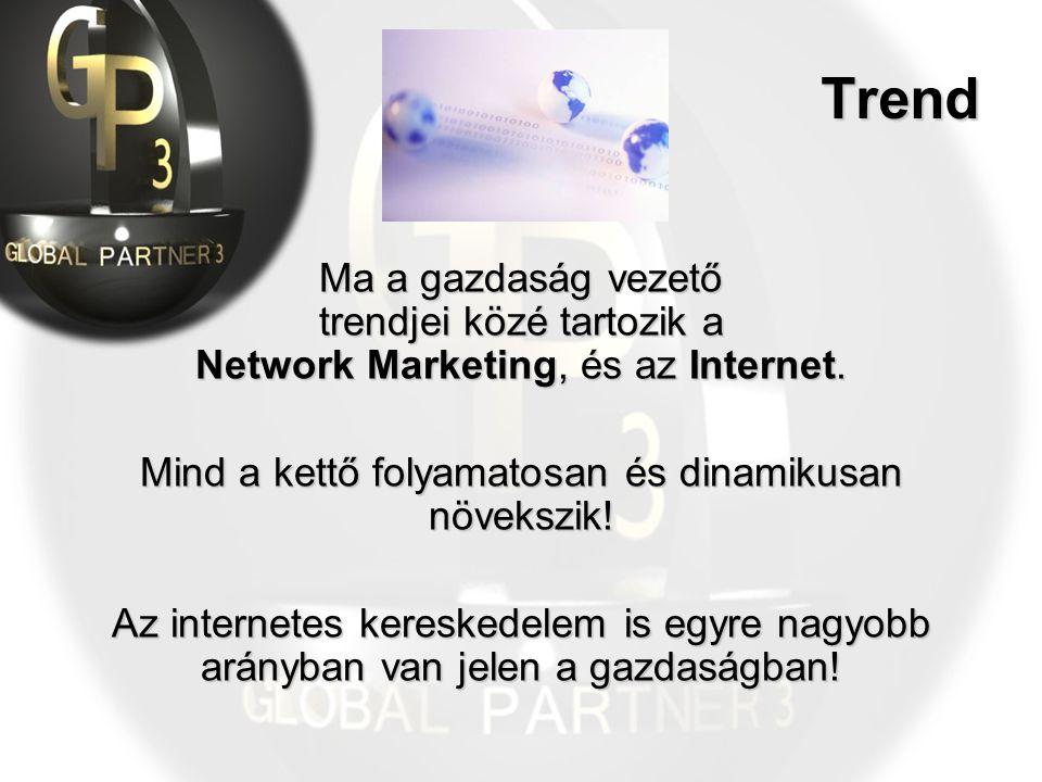Trend Ma a gazdaság vezető trendjei közé tartozik a Network Marketing, és az Internet. Mind a kettő folyamatosan és dinamikusan növekszik! Az internet