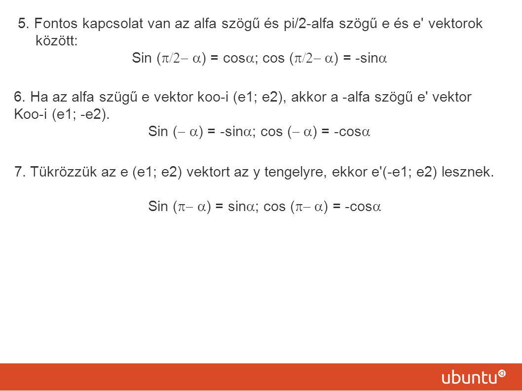 5. Fontos kapcsolat van az alfa szögű és pi/2-alfa szögű e és e' vektorok között: Sin (  ) = cos  ; cos (  ) = -sin  6. Ha az alfa szügű