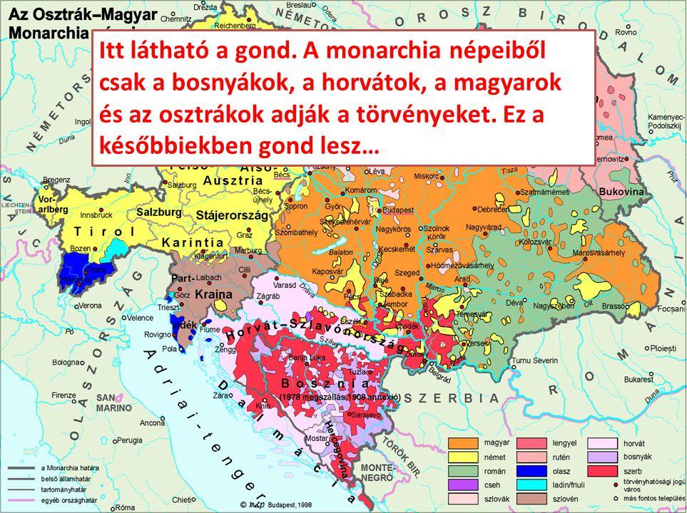 Itt látható a gond. A monarchia népeiből csak a bosnyákok, a horvátok, a magyarok és az osztrákok adják a törvényeket. Ez a későbbiekben gond lesz…