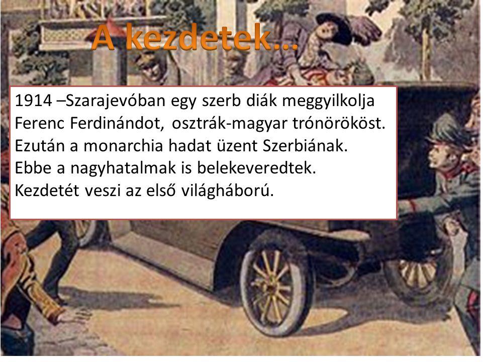 1914 –Szarajevóban egy szerb diák meggyilkolja Ferenc Ferdinándot, osztrák-magyar trónörököst. Ezután a monarchia hadat üzent Szerbiának. Ebbe a nagyh