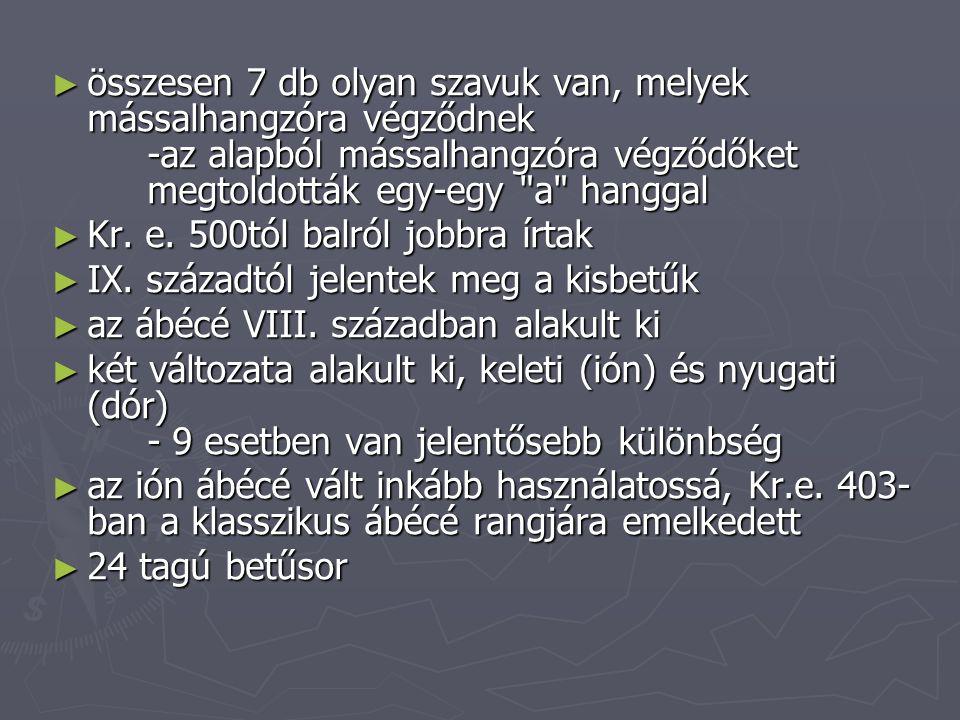 ► összesen 7 db olyan szavuk van, melyek mássalhangzóra végződnek -az alapból mássalhangzóra végződőket megtoldották egy-egy a hanggal ► Kr.