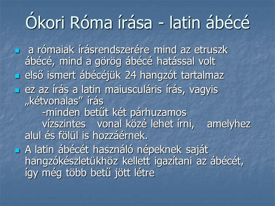 Ókori Róma írása - latin ábécé a rómaiak írásrendszerére mind az etruszk ábécé, mind a görög ábécé hatással volt a rómaiak írásrendszerére mind az etr