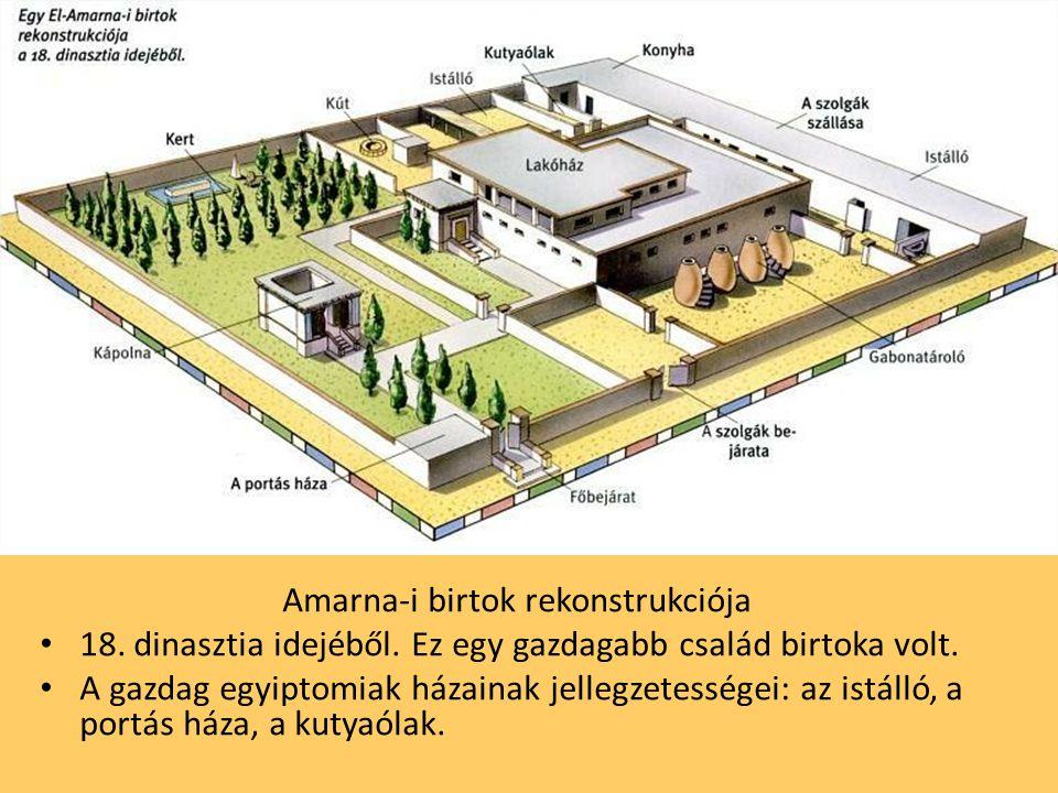 Amarna-i birtok rekonstrukciója 18. dinasztia idejéből. Ez egy gazdagabb család birtoka volt. A gazdag egyiptomiak házainak jellegzetességei: az istál