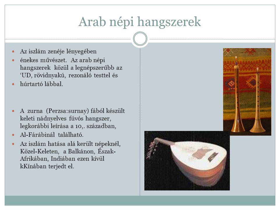 Arab népi hangszerek Az iszlám zenéje lényegében énekes művészet. Az arab népi hangszerek közül a legnépszerűbb az 'UD, rövidnyakú, rezonáló testtel é