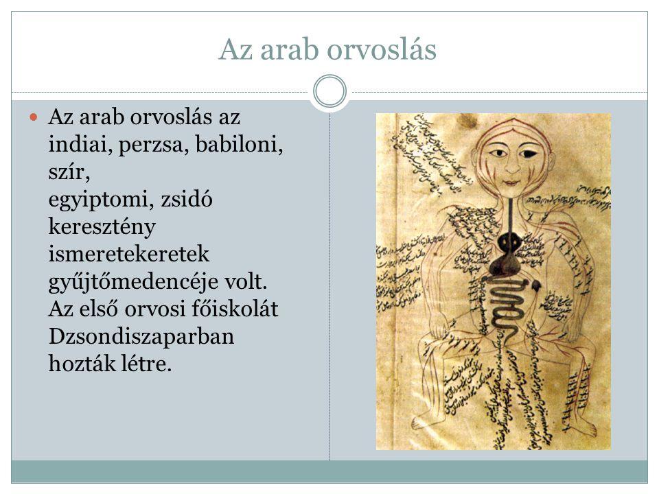 Az arab orvoslás Az arab orvoslás az indiai, perzsa, babiloni, szír, egyiptomi, zsidó keresztény ismeretekeretek gyűjtőmedencéje volt. Az első orvosi