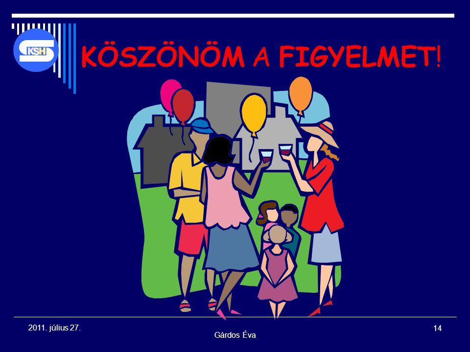 Gárdos Éva 14 2011. július 27. KÖSZÖNÖM A FIGYELMET!