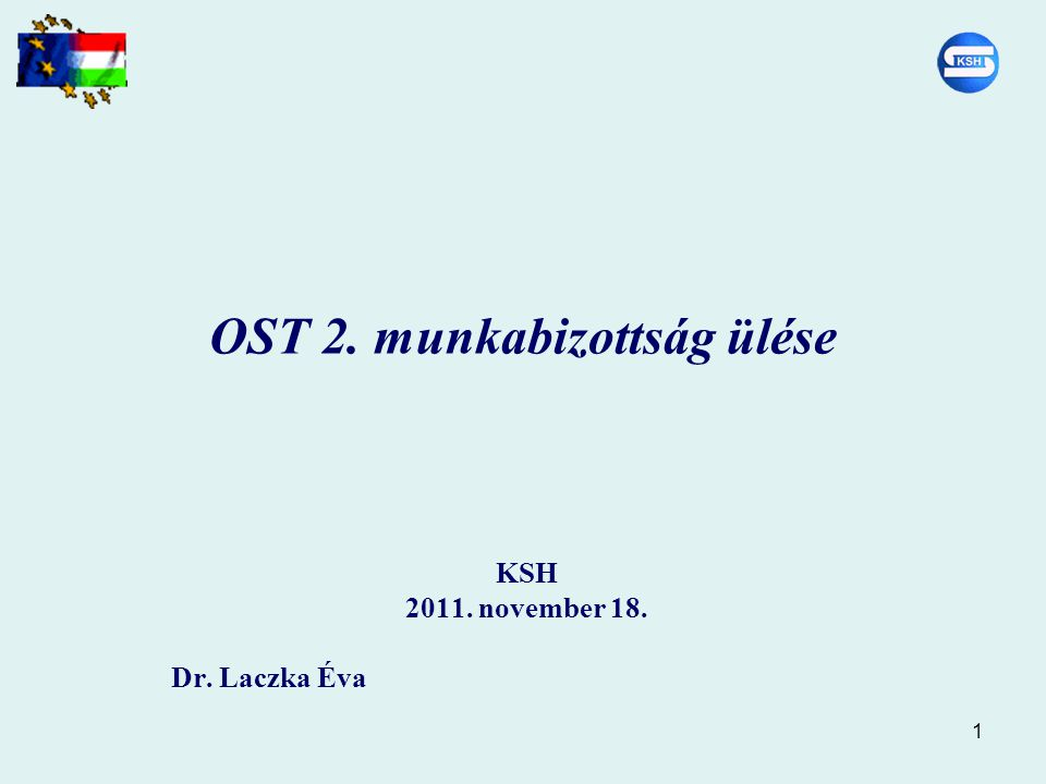 1 OST 2. munkabizottság ülése KSH 2011. november 18. Dr. Laczka Éva