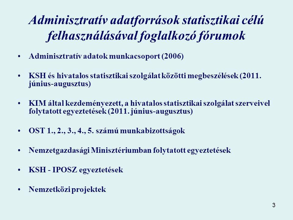 3 Adminisztratív adatforrások statisztikai célú felhasználásával foglalkozó fórumok Adminisztratív adatok munkacsoport (2006) KSH és hivatalos statisztikai szolgálat közötti megbeszélések (2011.