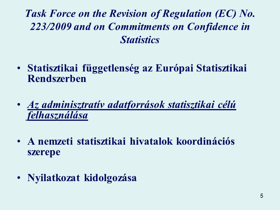 5 Statisztikai függetlenség az Európai Statisztikai Rendszerben Az adminisztratív adatforrások statisztikai célú felhasználása A nemzeti statisztikai hivatalok koordinációs szerepe Nyilatkozat kidolgozása