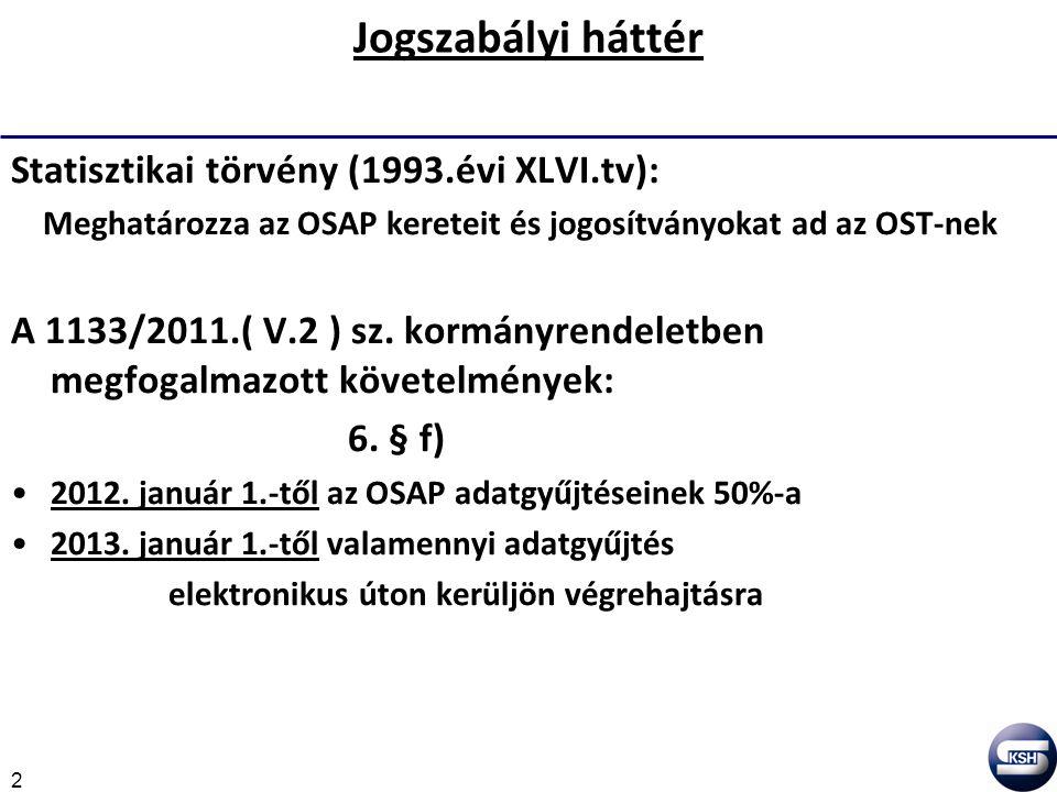 2 Jogszabályi háttér Statisztikai törvény (1993.évi XLVI.tv): Meghatározza az OSAP kereteit és jogosítványokat ad az OST-nek A 1133/2011.( V.2 ) sz.