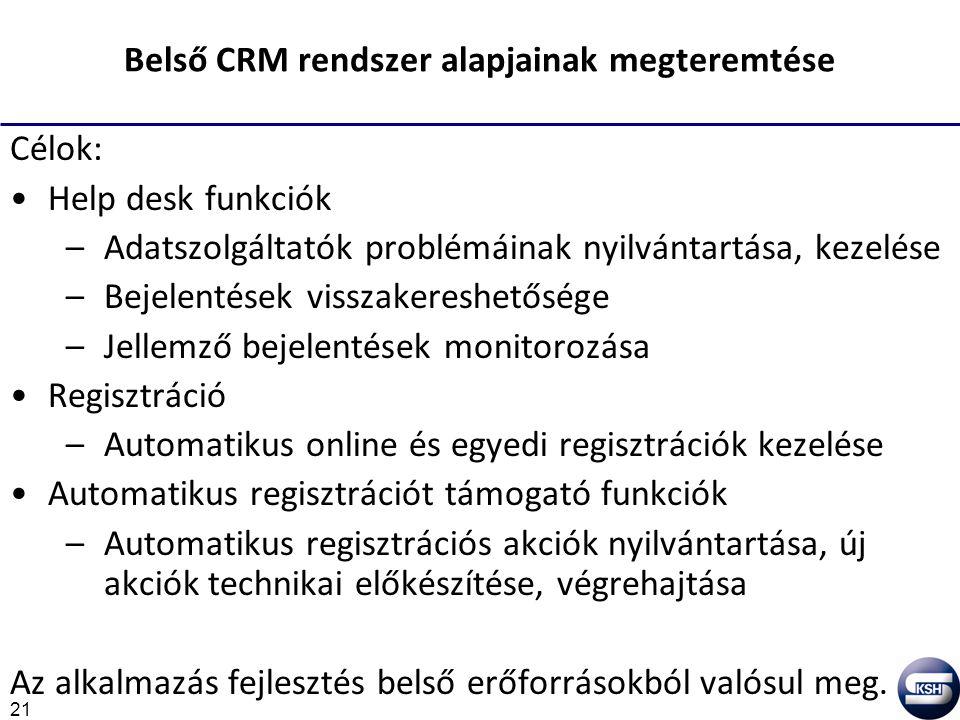 21 Belső CRM rendszer alapjainak megteremtése Célok: Help desk funkciók –Adatszolgáltatók problémáinak nyilvántartása, kezelése –Bejelentések visszakereshetősége –Jellemző bejelentések monitorozása Regisztráció –Automatikus online és egyedi regisztrációk kezelése Automatikus regisztrációt támogató funkciók –Automatikus regisztrációs akciók nyilvántartása, új akciók technikai előkészítése, végrehajtása Az alkalmazás fejlesztés belső erőforrásokból valósul meg.