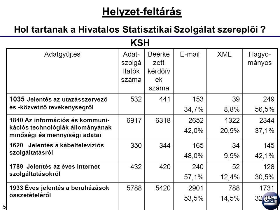 5 Helyzet-feltárás Hol tartanak a Hivatalos Statisztikai Szolgálat szereplői .
