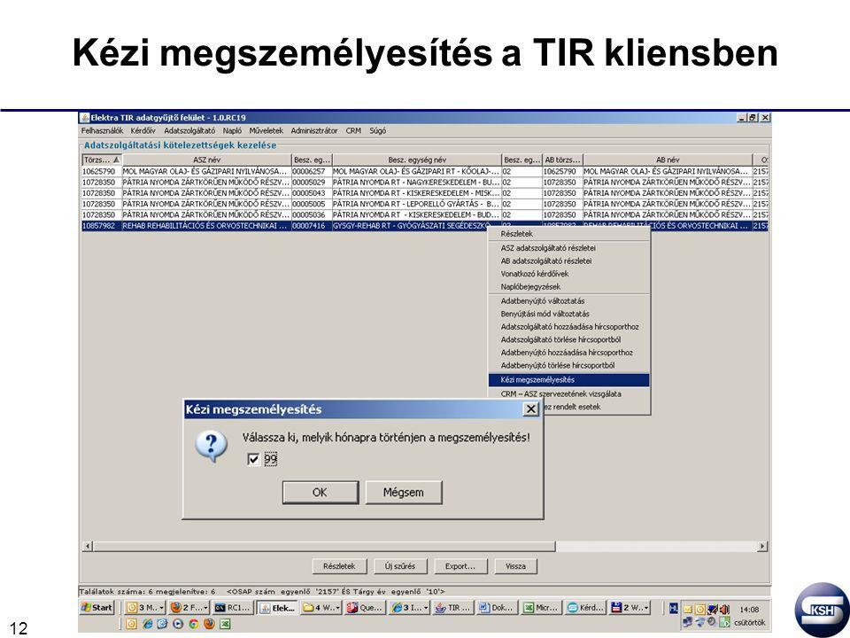 12 Kézi megszemélyesítés a TIR kliensben