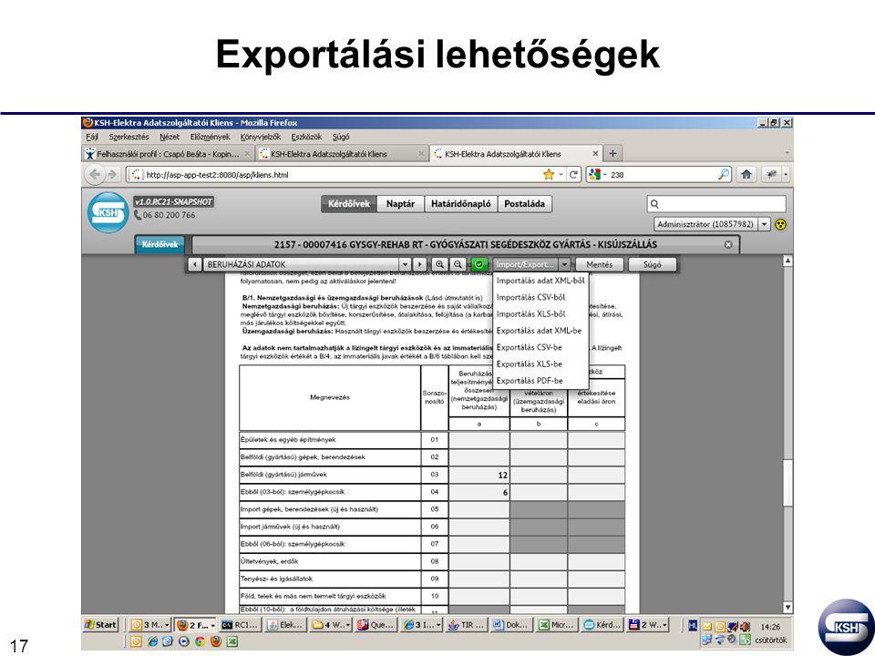 17 Exportálási lehetőségek
