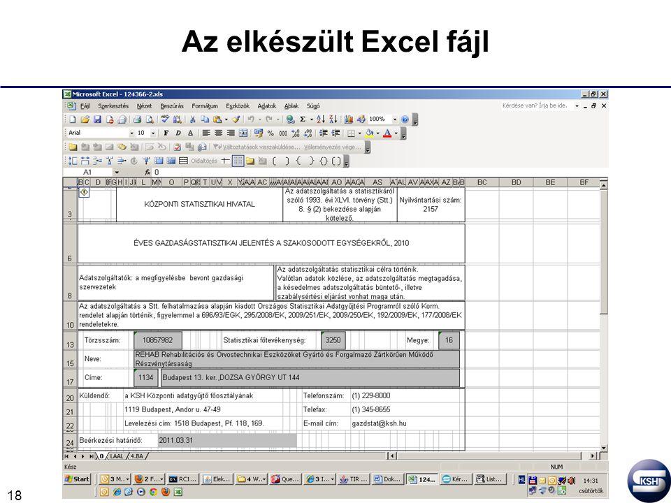18 Az elkészült Excel fájl