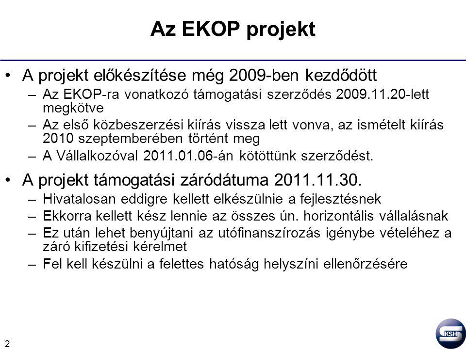 3 Az EKOP projektben el nem végzett feladatok 2011.11.30-a csak a támogatási időszak lezárulta –Az alkalmazási rendszer bevezetési időszaka a támogatási időszak lezárultával kezdődik –Ekkor indul a fejlesztő Vállalkozó (Kopint-Datorg Informatikai és Vagyonkezelő Kft.) részéről is a kiemelt jótállási időszak –A kiemelt jótállási időszakban az egyik alapfeladat az eddigi KSHXML-es kérdőívek átdolgozása –A kérdőívekkel együtt az adatok is átkerülnek (migrálódnak) az új rendszerbe –Az adatok átvitele után fogja a Hivatal publikálni az új rendszert, akkortól lesz az adatszolgáltatók részéről használható.