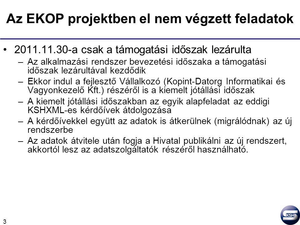 3 Az EKOP projektben el nem végzett feladatok 2011.11.30-a csak a támogatási időszak lezárulta –Az alkalmazási rendszer bevezetési időszaka a támogatá