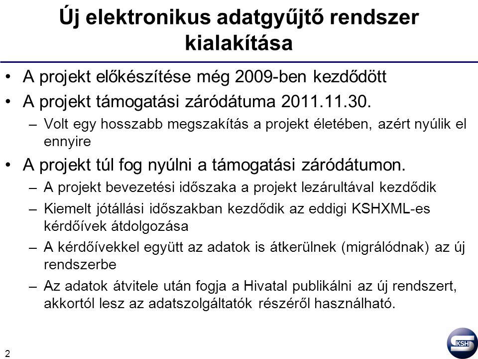 2 Új elektronikus adatgyűjtő rendszer kialakítása A projekt előkészítése még 2009-ben kezdődött A projekt támogatási záródátuma 2011.11.30. –Volt egy