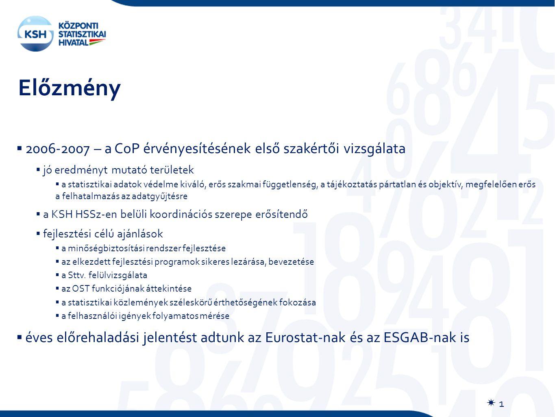 Előzmény  1  2006-2007 – a CoP érvényesítésének első szakértői vizsgálata  jó eredményt mutató területek  a statisztikai adatok védelme kiváló, erős szakmai függetlenség, a tájékoztatás pártatlan és objektív, megfelelően erős a felhatalmazás az adatgyűjtésre  a KSH HSSz-en belüli koordinációs szerepe erősítendő  fejlesztési célú ajánlások  a minőségbiztosítási rendszer fejlesztése  az elkezdett fejlesztési programok sikeres lezárása, bevezetése  a Sttv.