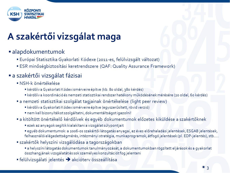 A szakértői vizsgálat maga  3  alapdokumentumok  Európai Statisztika Gyakorlati Kódexe (2011-es, felülvizsgált változat)  ESR minőségbiztosítási keretrendszere (QAF: Quality Assurance Framework)  a szakértői vizsgálat fázisai  NSH-k önértékelése  kérdőív a Gyakorlati Kódex ismérveire építve (kb.