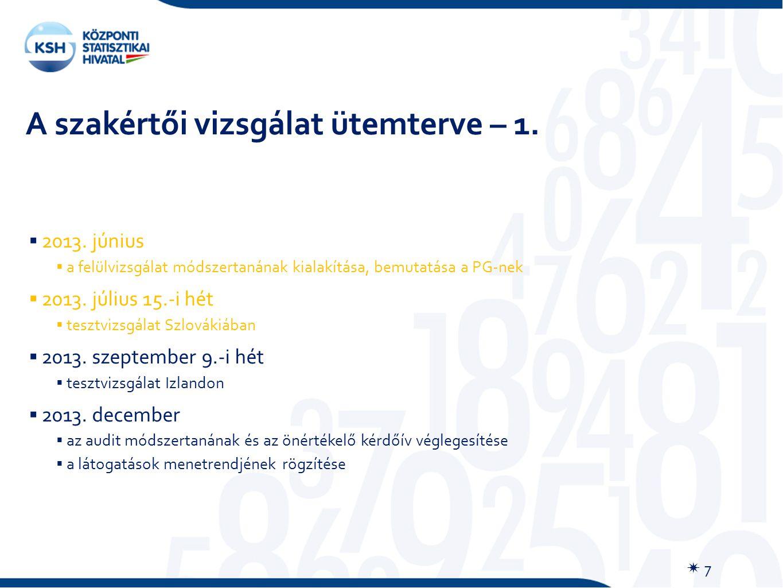 A szakértői vizsgálat ütemterve – 1.  7  2013.