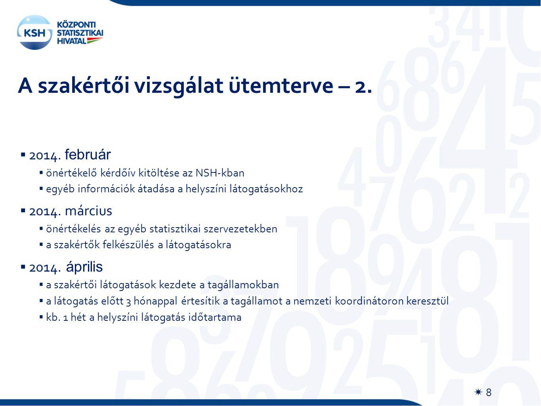 A szakértői vizsgálat ütemterve – 2.  8  2014.