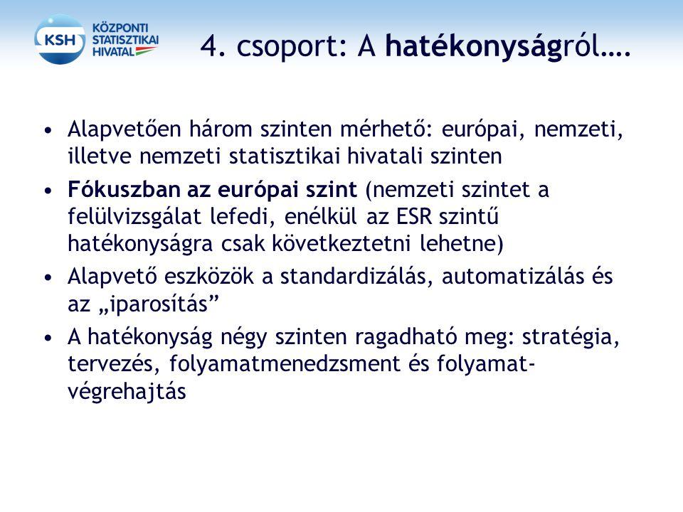 4. csoport: A hatékonyságról…. Alapvetően három szinten mérhető: európai, nemzeti, illetve nemzeti statisztikai hivatali szinten Fókuszban az európai