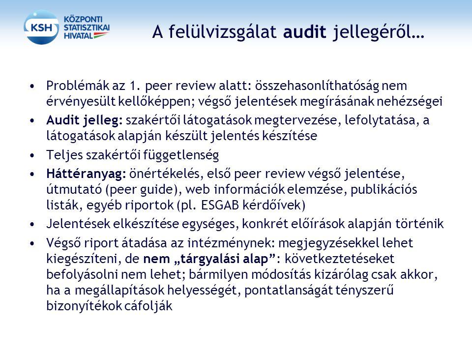 A felülvizsgálat audit jellegéről… Problémák az 1. peer review alatt: összehasonlíthatóság nem érvényesült kellőképpen; végső jelentések megírásának n