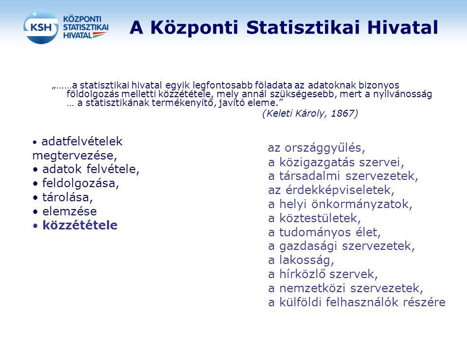 """A Központi Statisztikai Hivatal """"……a statisztikai hivatal egyik legfontosabb föladata az adatoknak bizonyos földolgozás melletti közzététele, mely ann"""