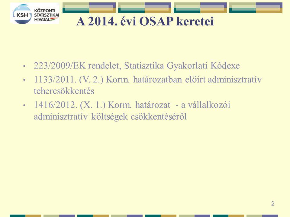 A 2014. évi OSAP keretei 223/2009/EK rendelet, Statisztika Gyakorlati Kódexe 1133/2011.