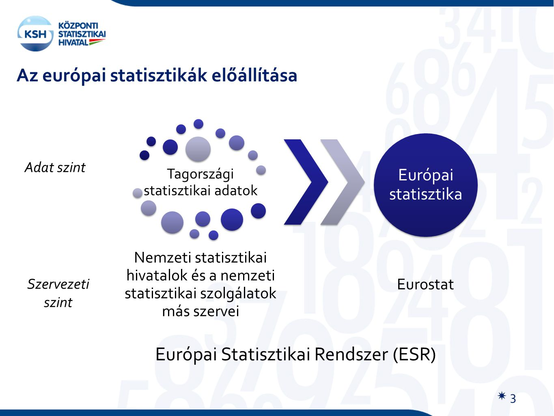 Tagországi statisztikai adatok Nemzeti statisztikai hivatalok és a nemzeti statisztikai szolgálatok más szervei Európai statisztika Eurostat Szervezeti szint Európai Statisztikai Rendszer (ESR) Az európai statisztikák előállítása Adat szint  3