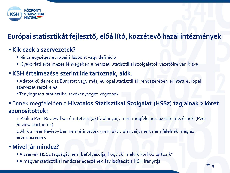 Európai statisztikát fejlesztő, előállító, közzétevő hazai intézmények  Kik ezek a szervezetek?  Nincs egységes európai álláspont vagy definíció  G