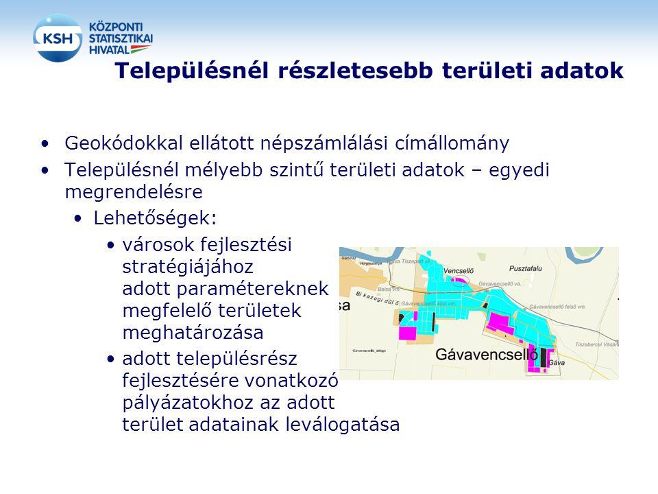 Településnél részletesebb területi adatok Geokódokkal ellátott népszámlálási címállomány Településnél mélyebb szintű területi adatok – egyedi megrendelésre Lehetőségek: városok fejlesztési stratégiájához adott paramétereknek megfelelő területek meghatározása adott településrész fejlesztésére vonatkozó pályázatokhoz az adott terület adatainak leválogatása