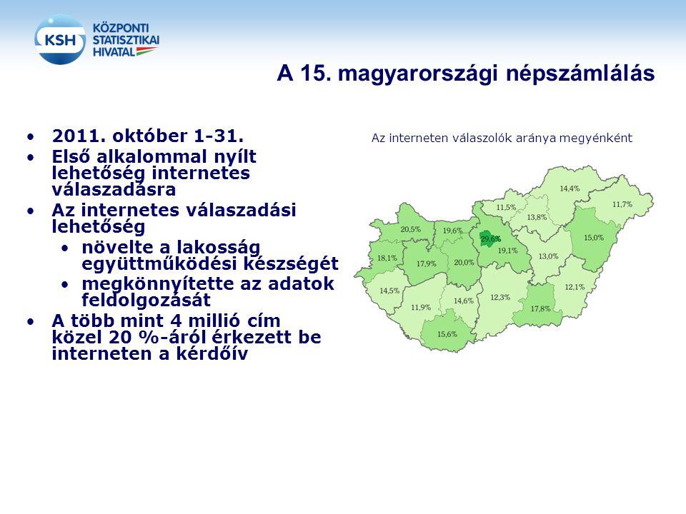 A 15. magyarországi népszámlálás 2011. október 1-31. Első alkalommal nyílt lehetőség internetes válaszadásra Az internetes válaszadási lehetőség növel