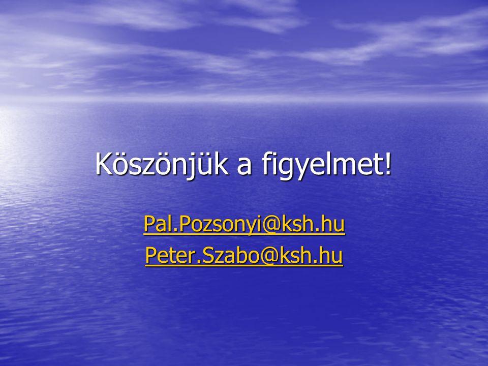 Köszönjük a figyelmet! Pal.Pozsonyi@ksh.hu Peter.Szabo@ksh.hu