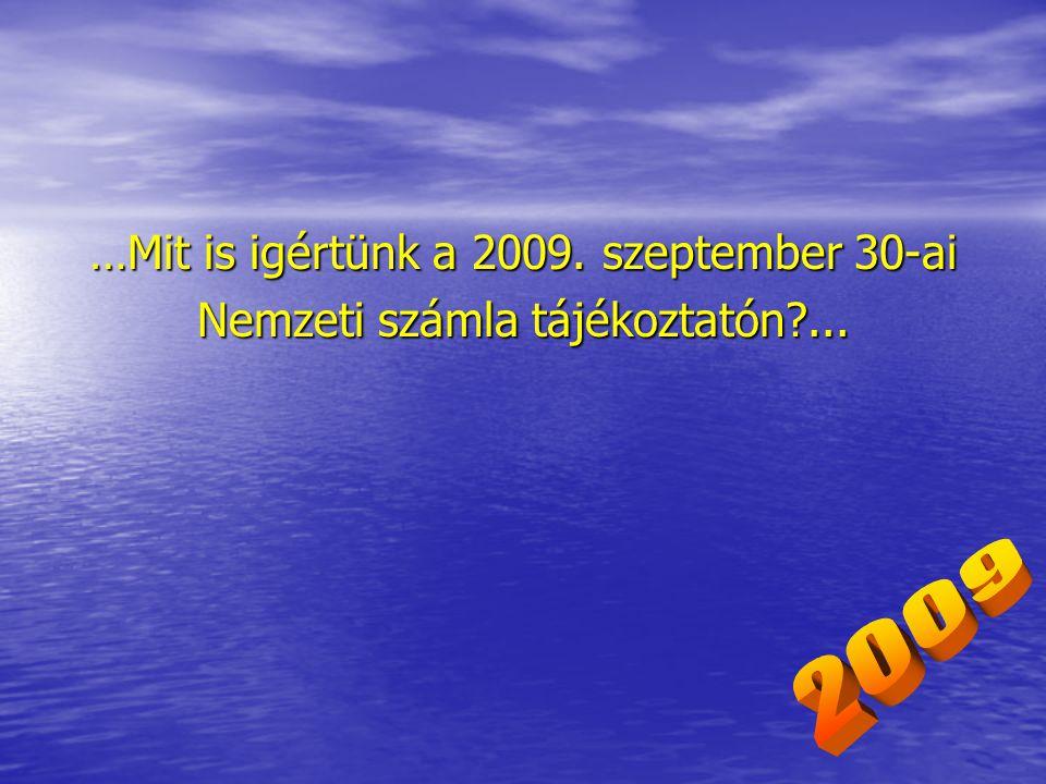 …Mit is igértünk a 2009. szeptember 30-ai Nemzeti számla tájékoztatón ...