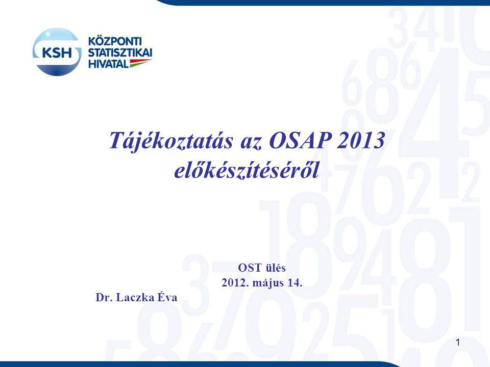 1 Tájékoztatás az OSAP 2013 előkészítéséről OST ülés 2012. május 14. Dr. Laczka Éva