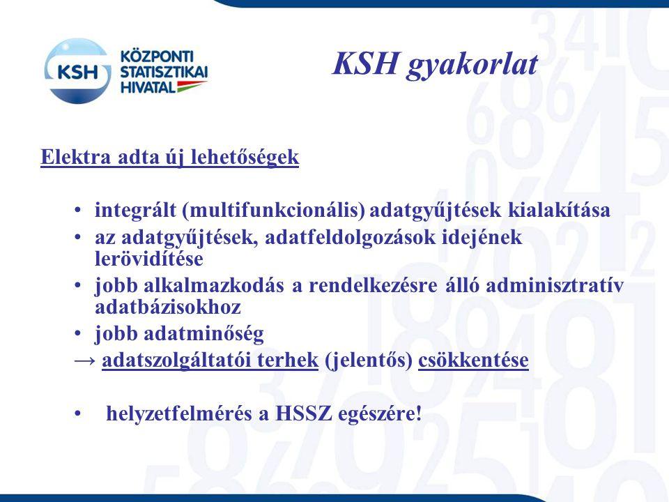 KSH gyakorlat Elektra adta új lehetőségek integrált (multifunkcionális) adatgyűjtések kialakítása az adatgyűjtések, adatfeldolgozások idejének lerövid