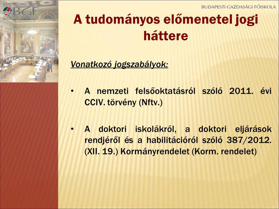 Vonatkozó jogszabályok: A nemzeti felsőoktatásról szóló 2011.