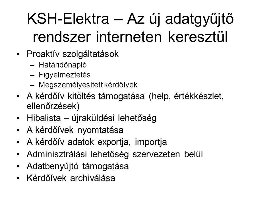KSH-Elektra – Az új adatgyűjtő rendszer interneten keresztül Proaktív szolgáltatások –Határidőnapló –Figyelmeztetés –Megszemélyesített kérdőívek A kérdőív kitöltés támogatása (help, értékkészlet, ellenőrzések) Hibalista – újraküldési lehetőség A kérdőívek nyomtatása A kérdőív adatok exportja, importja Adminisztrálási lehetőség szervezeten belül Adatbenyújtó támogatása Kérdőívek archiválása