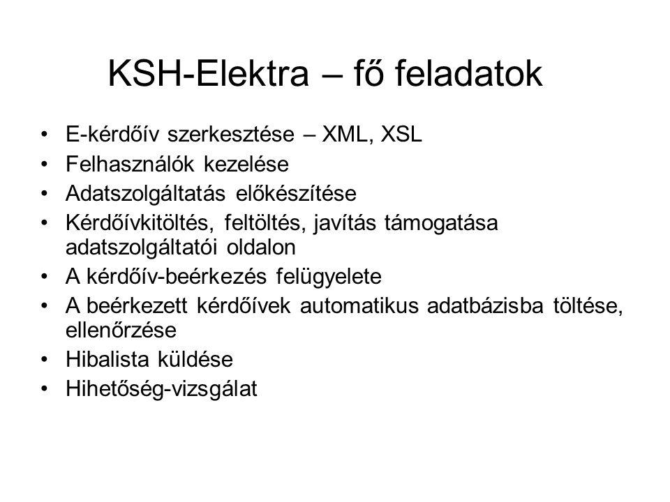 KSH-Elektra – fő feladatok E-kérdőív szerkesztése – XML, XSL Felhasználók kezelése Adatszolgáltatás előkészítése Kérdőívkitöltés, feltöltés, javítás támogatása adatszolgáltatói oldalon A kérdőív-beérkezés felügyelete A beérkezett kérdőívek automatikus adatbázisba töltése, ellenőrzése Hibalista küldése Hihetőség-vizsgálat