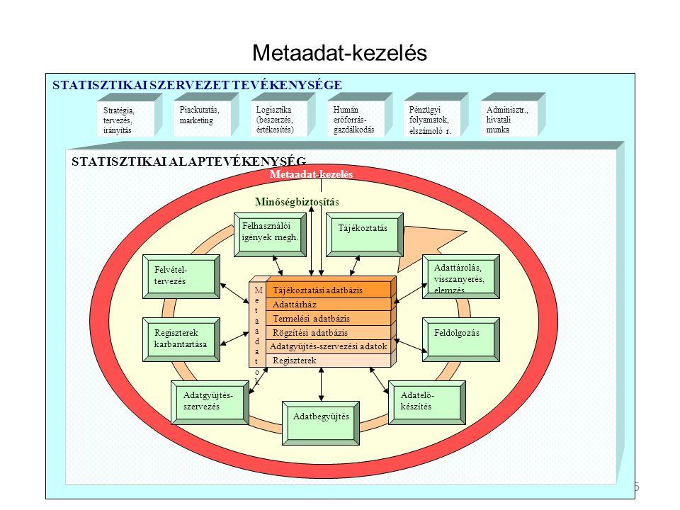 Feldolgozás elemei Adatkezelés (különböző források) Adatok összekapcsolása Konzisztencia-vizsgálat, mikro- és makrovalidálás, outlier szűrés Imputálás Súlyképzés Sokasági jellemzők becslése mintából Hibaszámítás Új csoportosító mezők, mutatók képzése, számítása Aggregálás Mutatószámképzés Idősorképzés Output előállítás stb.