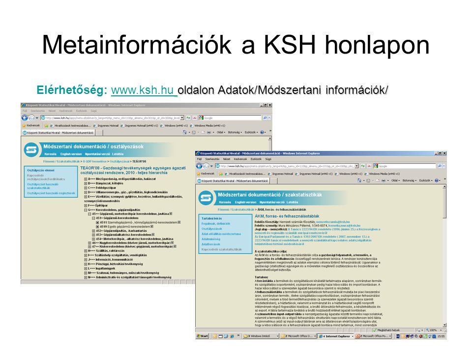 Metainformációk a KSH honlapon oldalon Adatok/Módszertani információk/ Elérhetőség: www.ksh.hu oldalon Adatok/Módszertani információk/www.ksh.hu