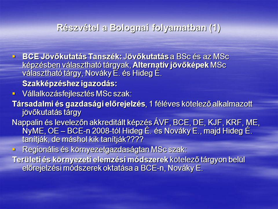 Részvétel a Bolognai folyamatban (1)  BCE Jövőkutatás Tanszék: Jövőkutatás a BSc és az MSc képzésben választható tárgyak, Alternatív jövőképek MSc vá