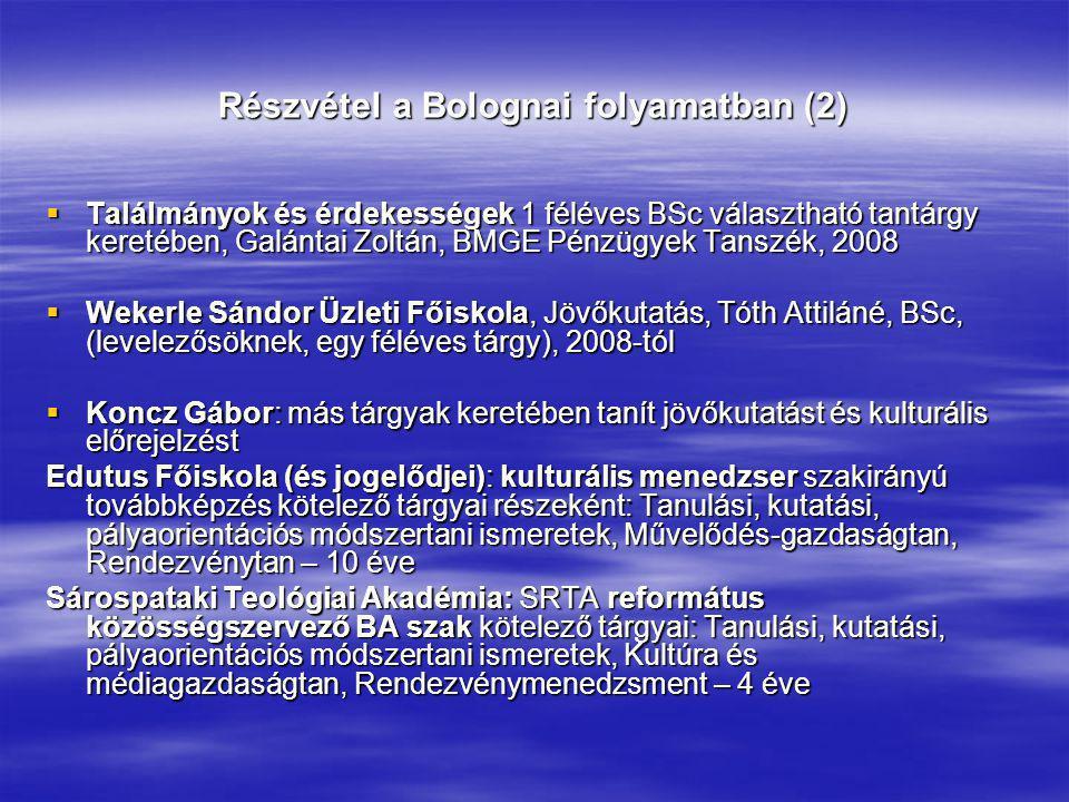 Részvétel a Bolognai folyamatban (2)  Találmányok és érdekességek 1 féléves BSc választható tantárgy keretében, Galántai Zoltán, BMGE Pénzügyek Tansz