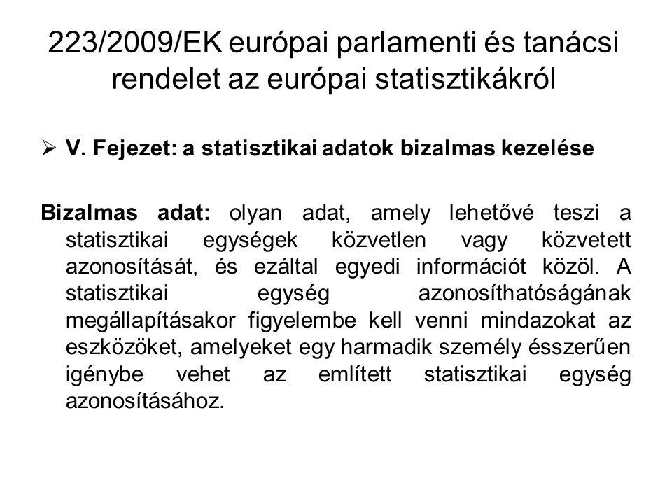 223/2009/EK európai parlamenti és tanácsi rendelet az európai statisztikákról  V.
