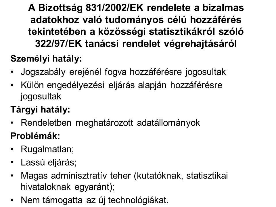 A Bizottság 831/2002/EK rendelete a bizalmas adatokhoz való tudományos célú hozzáférés tekintetében a közösségi statisztikákról szóló 322/97/EK tanácsi rendelet végrehajtásáról Személyi hatály: Jogszabály erejénél fogva hozzáférésre jogosultak Külön engedélyezési eljárás alapján hozzáférésre jogosultak Tárgyi hatály: Rendeletben meghatározott adatállományok Problémák: Rugalmatlan; Lassú eljárás; Magas adminisztratív teher (kutatóknak, statisztikai hivataloknak egyaránt); Nem támogatta az új technológiákat.