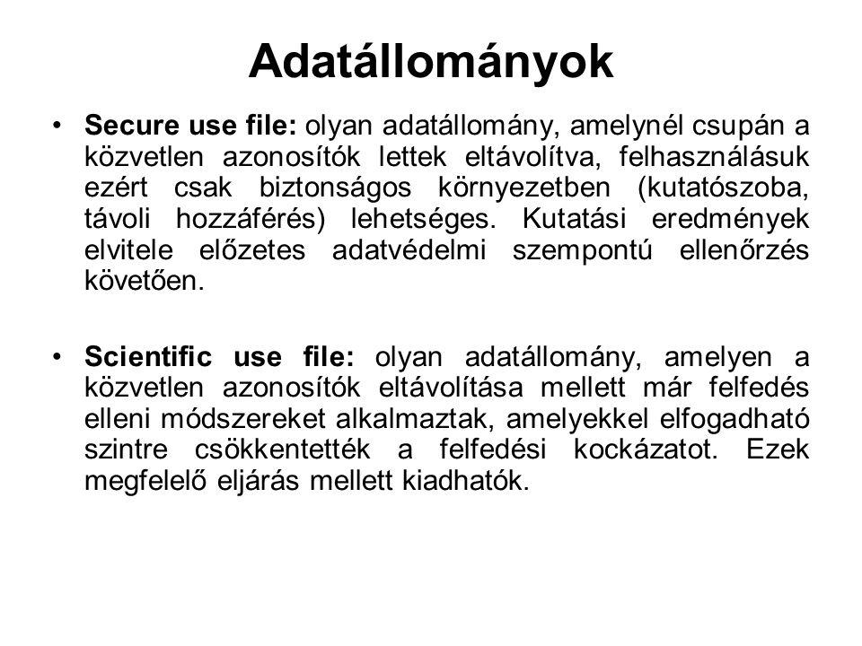 Adatállományok Secure use file: olyan adatállomány, amelynél csupán a közvetlen azonosítók lettek eltávolítva, felhasználásuk ezért csak biztonságos környezetben (kutatószoba, távoli hozzáférés) lehetséges.